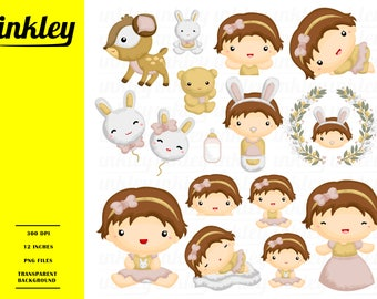 Nature Babies Clipart - Cute Babies Clip Art - Cute Animal -  Free SVG on Request