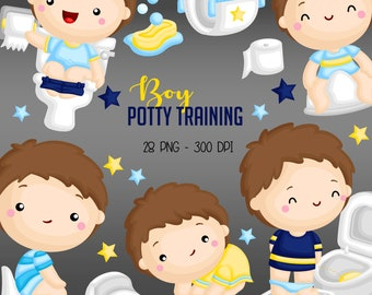 Potty Training Clipart - Cute Boy Clip Art - Bathroom Activities - Free SVG on Request