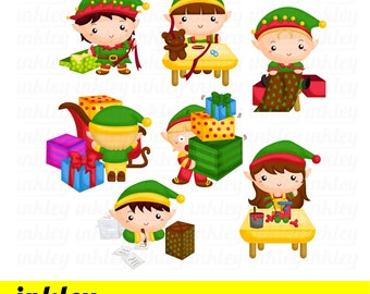 Elf Workshop Clipart - Elves Factory Clip Art - Santa Claus - Free SVG on Request