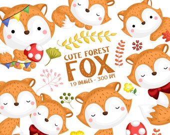 Cute Fox Clipart - Cute Animal Clip Art - Wild Animal - Free SVG on Request