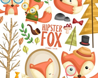 Cute Fox Clipart - Hipster Fox Clip Art - Cute Animal - Free SVG on Request