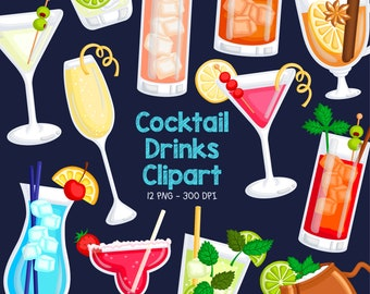 Cocktail Drinks Clipart - Food and Beverage Clip Art - Colorful Cocktail - Free SVG on Request