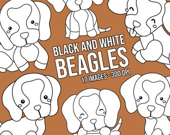 Cute Beagle Clipart - Dog Breed Clip Art - Black and White - Free SVG on Request