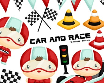 Racer and Car Clipart - Cute Kid Racing Clip Art - Kids Activity - Free SVG on Request