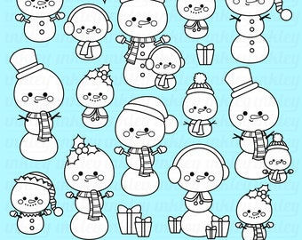 Christmast Snowmal Clipart - Black and White Clip Art - Digital Stamp - Free SVG on Request
