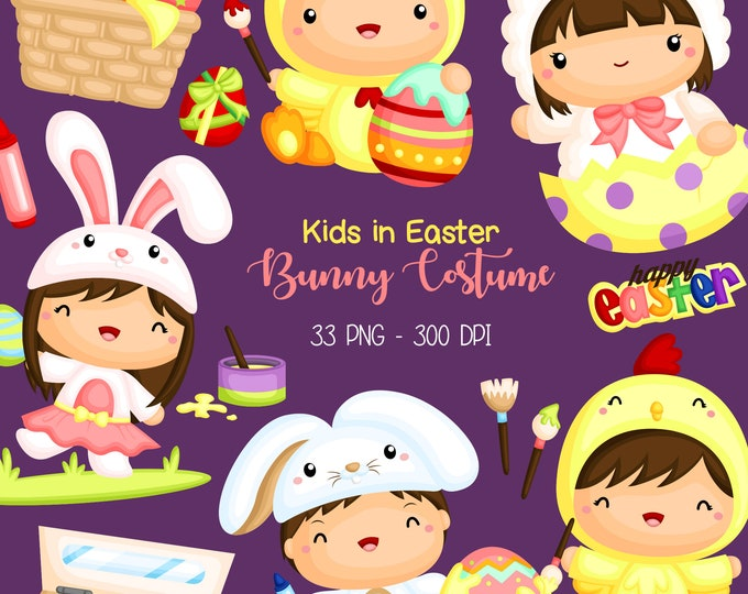 Featured listing image: Kids in Easter Bunny Costume - Easter Holiday Celebration Clip Art - Free SVG on Request