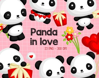 Cute Panda Clipart - Valentnine and Love Clip Art - Holiday and Celebration - Free SVG on Request