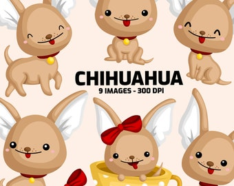 Cute Chihuahua Clipart - Cute Animal Clip Art - Home Pet - Free SVG on Request
