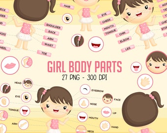 Girl Body Parts Clipart - Kids Body Part Chart Clip Art - Education Chart - Free SVG on Request