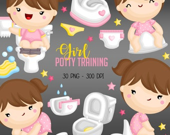 Potty Training Clipart - Kids Growing Up Clip Art - Bathroom Item - Free SVG on Request