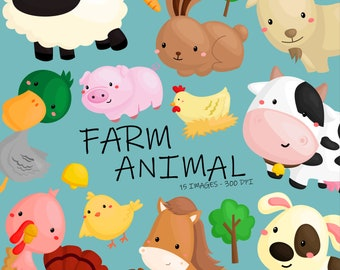 Farm Animal Clipart - Cute Animal Clip Art - Cow and Sheep - Free SVG on Request