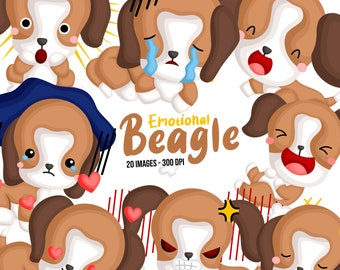 Cute Beagle Clipart - Dog Breed Clip Art - Emotions Clipart - Free SVG on Request