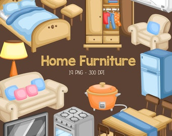 Furniture in House Clipart - Living Room Clip Art - House and Home - Free SVG on Request