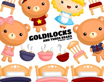 Goldilock and Three Bear - Kids Story Clip Art - Fairytale Fantasy - Free SVG on Request