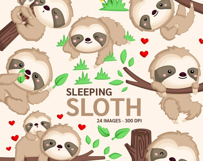 Featured listing image: Cute Sloth Clipart - Sloth on a Tree Clipart - Cute Animal Clipart - Free SVG on Request