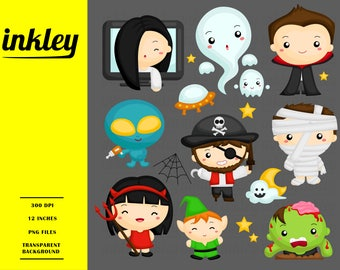 Cute Halloween Costume Clipart - Halloween Character Clip Art - Ghost and Monster - Free SVG on Request