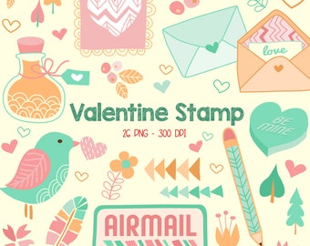 Valentine Typography Stamp Clipart - Bird and Object Clip Art - Holiday - Free SVG on Request