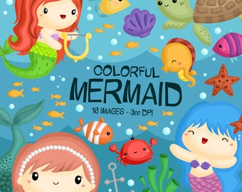 Mermaid Under The Sea Clipart -  Fish and Underwater Animal Clip Art - Free SVG on Request