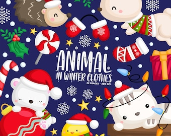 Winter Animal Clipart - Christmas Animal Clip Art - Santa Claus Animal - Free SVG on Request