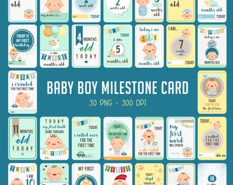 Baby Milestone Cards - Cute Baby Clipart - Baby Boy Clip Art - Free SVG on Request