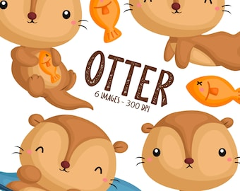 Cute Otter Clipart - Cute Animal Clip Art - Animal Swimming - Free SVG on Request