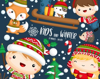 Cute Christmas Clipart - Kids in Winter Clip Art - Cute Winter Animal - Free SVG on Request