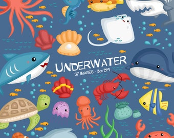 Underwater Clipart - Under the Sea Clip Art - Cute Animal Clipart - Free SVG on Request