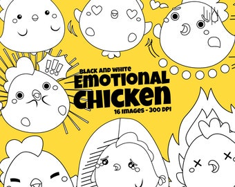 Emotional Chicken Clipart - Cute Animal Clip Art - Black and White - Free SVG on Request