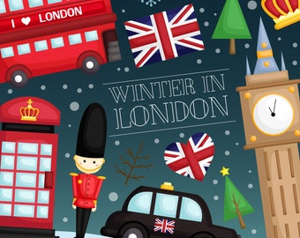 Winter in London Clipart - United Kingdom Clip Art - Country and Culture - Free SVG on Request