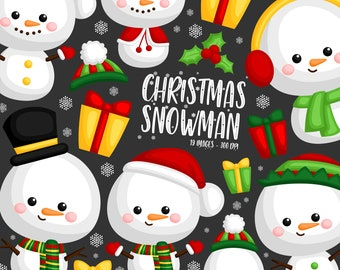 Christmas Snowman Clipart - Snowman in Winter Clip Art - Winter Season - Free SVG on Request
