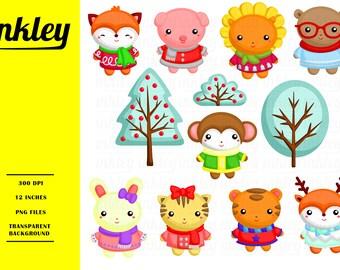 Animal in Winter Costume - Cute Animal Clip Art - Winter Season - Free SVG on Request