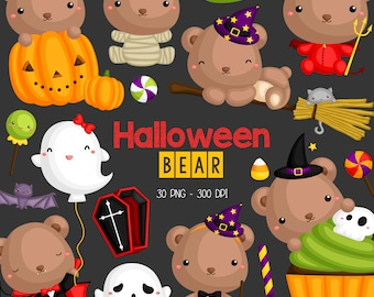 Halloween Bear Clipart - Cute Animal Clip Art - Holiday Celebration - Free SVG on Request