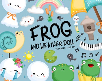 Frog and Weather Doll Clipart - Cute Tradition Clip Art - Rainy Days - Free SVG on Request