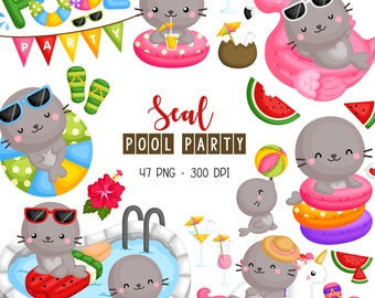 Seal Pool Party Clipart - Cute Animal Clip Art - Fun in the Sun - Free SVG on Request