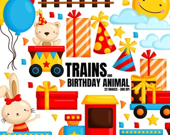Birthday Train Clipart - Cute Animal Clip Art - Birthday Party - Free SVG on Request