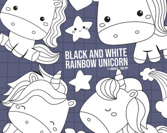 Rainbow And Unicorn Clipart - Cute Unicorn Clip Art - Black and White - Free SVG on Request