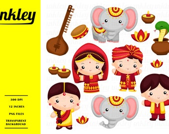 India Culture Clipart - Cute Elephant Clip Art - Cute Animal - Free SVG on Request