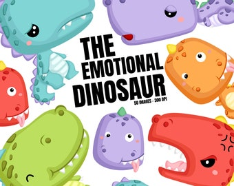 Jurassic Animal Clipart - Cute Dinosaur Clipart - Emotion Clipart - Free SVG on Request