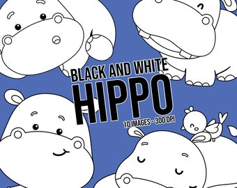 Cute Hippo Clipart - Cute Animal Clip Art - Black and White - Free SVG on Request
