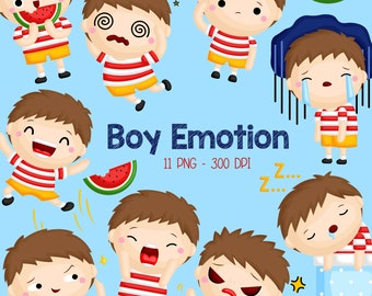 Emotion Boy Clipart - Cute Kids Clip Art - Feelings and Emotion - Free SVG on Request