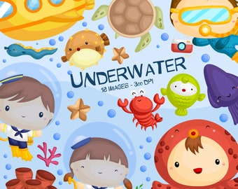 Underwater Life Clipart - Cute Kids Diving Clip Art - Submarine and Fish - Free SVG on Request