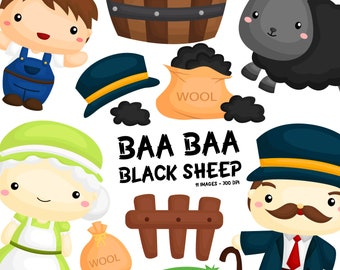 Baa Baa Black Sheep Clipart - Cute Animal Clip Art - Song and Story - Free SVG on Request