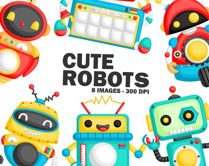 Featured listing image: Cute Robots Clipart - Toys Clip Art - Robot - Free SVG on Request