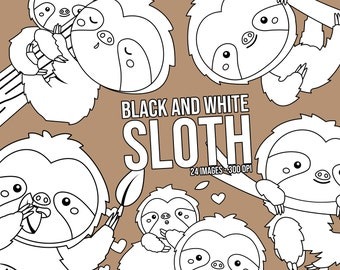 Cute Sloth Clipart - Black and White Clipart - Cute Animal Clipart - Free SVG on Request
