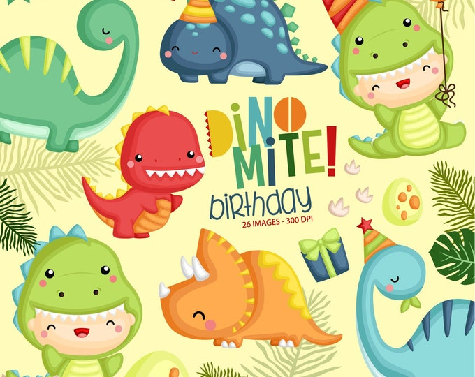 Featured listing image: Jurassic Animal Clipart - Cute Dinosaur Clipart - Birthday Party Clipart - Free SVG on Request