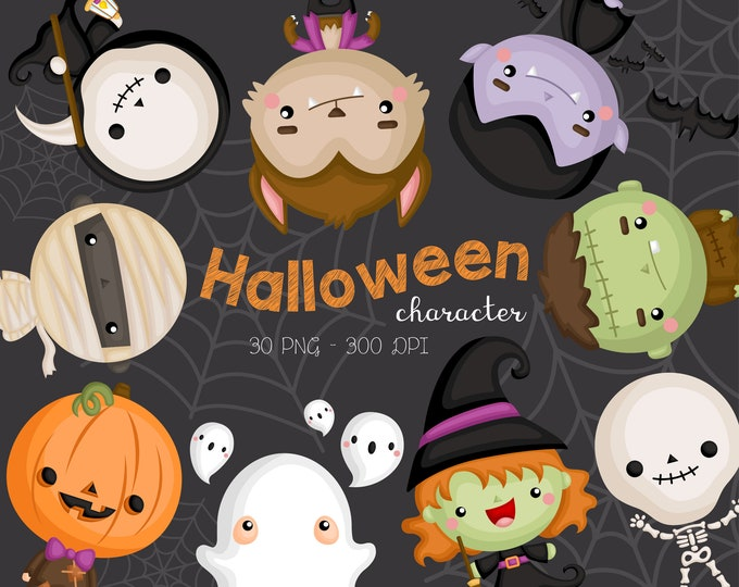 Featured listing image: Halloween Costume Clipart - Cute Monster Clip Art - Cute Characters - Free SVG on Request