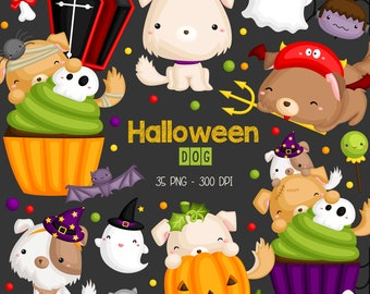 Halloween and Dog Clipart - Cute Puppy Clip Art - Holiday Celebration - Free SVG on Request