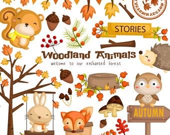 Autumn Season Animal Clipart - Cute Animal Clip Art - Seasonal Clipart - Free SVG on Request