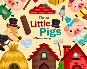 Three Little Pigs Clipart - Storytime Clip Art - Kids Story - Free SVG on Request