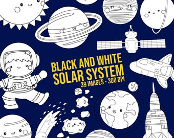 Galaxy and Space Clipart - Space and Exploration Clip Art - Solar System - Black and White - Free SVG on Request